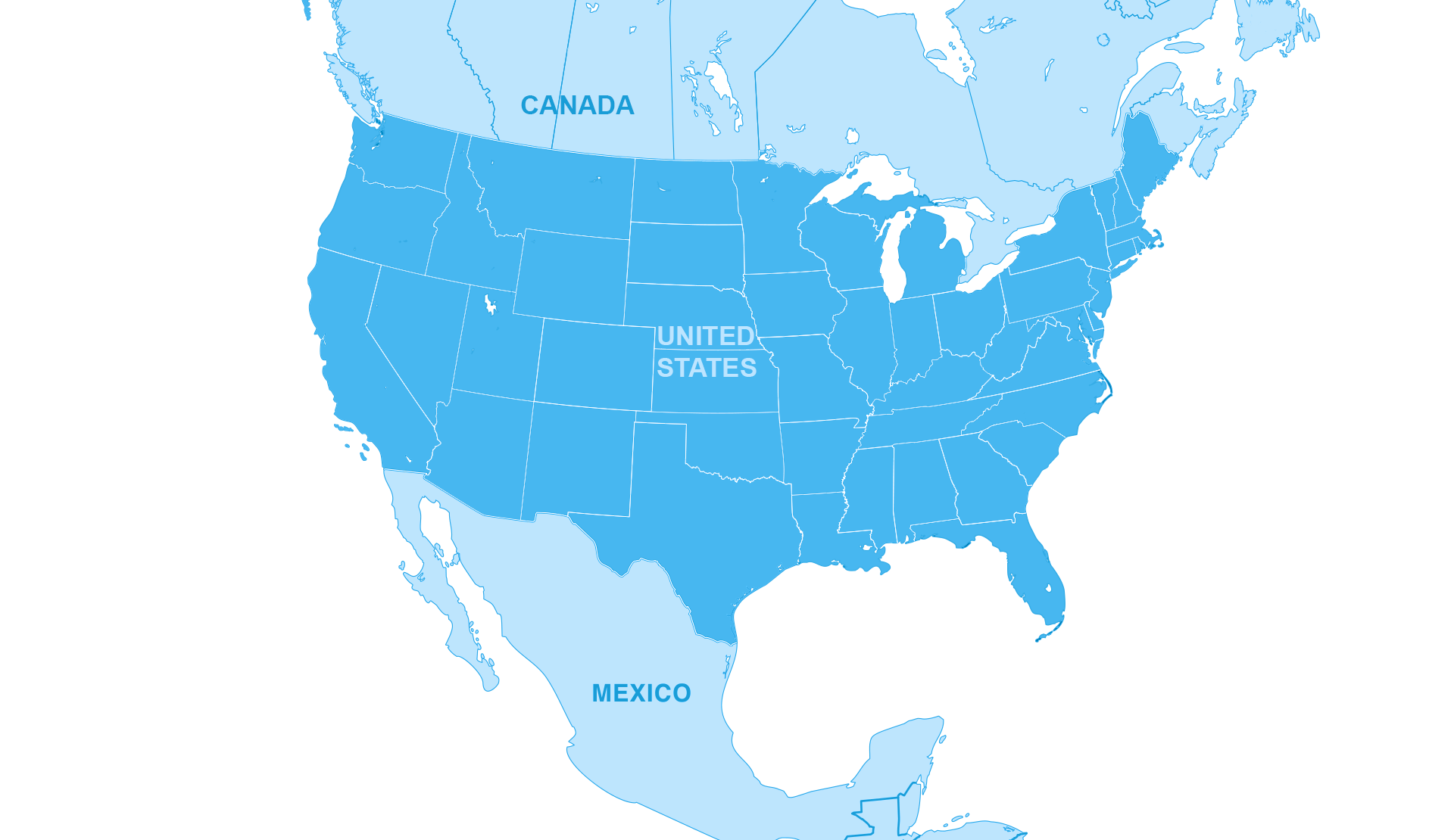 Map Of Canada Usa Mexico Network Map   Canada, USA, Mexico Truckload and LTL Services